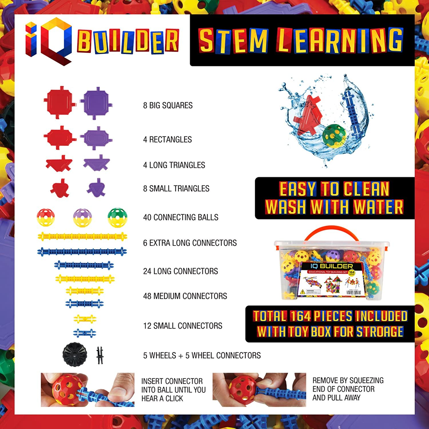 IQ BUILDER Best Toy Gift for Kids Creative Construction Engineering STEM Learning Toys Top Blocks Game Kit Fun Educational Building Toy Set for Boys and Girls Ages 3 4 5 6 7 8 9 10 Year Old