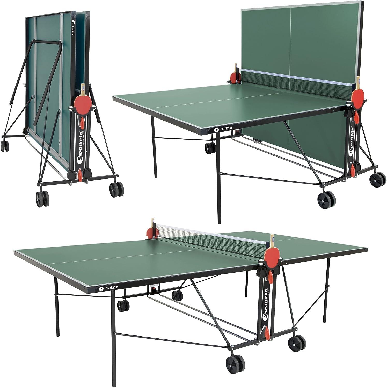 Sponeta - Mesa de ping pong (plegable, incluye red, palas y bolas)