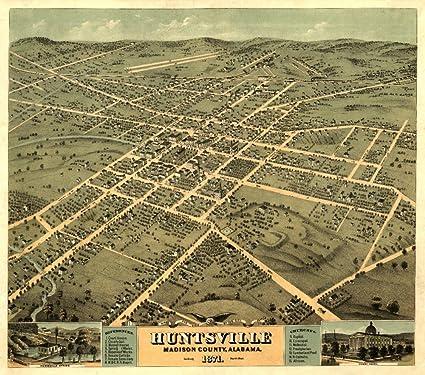 Washington DC 1871 Historic Panoramic Town Map 16x24