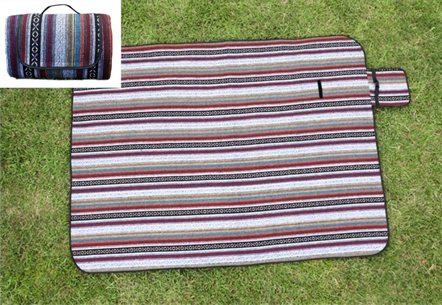 X-Labor Bohemian Streifen Picknick Decke mit Tragegriffen 200x150 cm XXL mit wasserdichter PEVA Unterseite W/ärmeisoliert Stranddecke Campingdecke Motiv-A