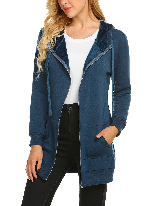 bluee ELESOL Women Winter Casual Long Sleeve Hooded Zipper Hoodies Sweatshirt Coat with Fleece
