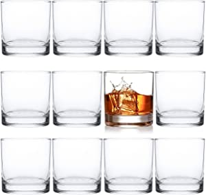 Kingrol 12 Pack Double Old Fashioned Whiskey Glasses, 10 oz Rocks Glasses Drinking Glasses for Scotch, Bourbon, Cocktails, Beverages, Water
