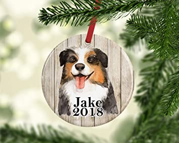 Australian Shepherd Christmas Ornament.Amazon Com Georgia Barnard Personalized Australian Shepherd