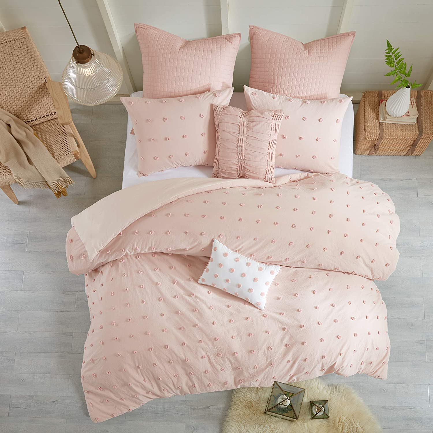 Urban Habitat Brooklyn Cotton Jacquard Duvet Cover Set Pink Twin/Twin XL