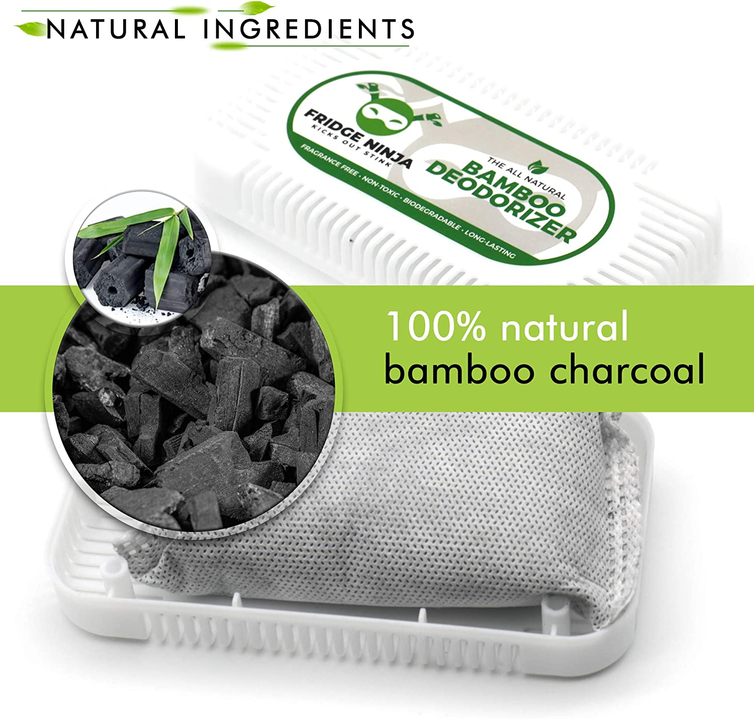 Refrigerator Deodorizer - Natural Bamboo Activated Charcoal Fridge Deodorizer - More Effective Than Baking Soda - Refrigerator Odor Eliminator for Fridges, Freezers, Coolers & Lunch Boxes - 2 Pack: Kitchen & Dining