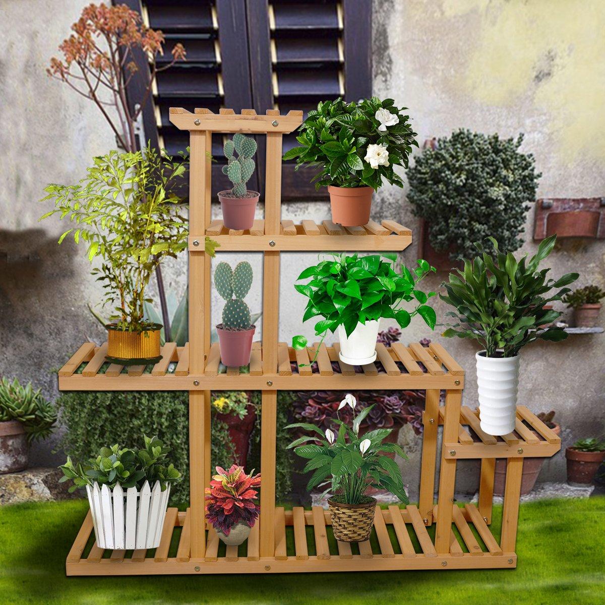 Yardeen Wooden Plant Display Flower Stand 5-Tier Storage Rack Shelving 10 Pot Holder for Garden Patio Corner Indoor&Outdoor Décor by Yardeen (Image #5)