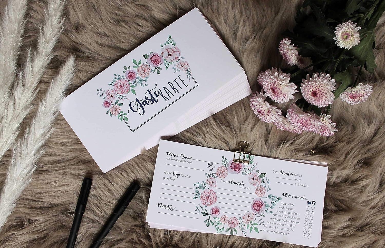 50 Hochzeits G/ästekarten DIN lang kreative Fragen zum ausf/üllen G/ästeliebhaber kreative Alternative mit Blumendesign Luft /& Liebe G/ästebuchkarten