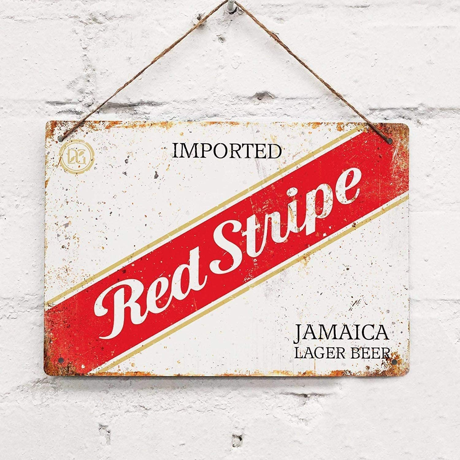 Background Wall Decoration Red Stripe Jamaican Beer Tin Sign 8x12 inches