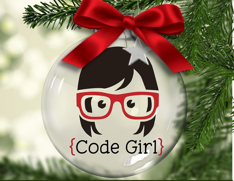 43LenaJon Code Girl, Floating Christmas Ornament, Computer Operator, Computer Geek, Coder