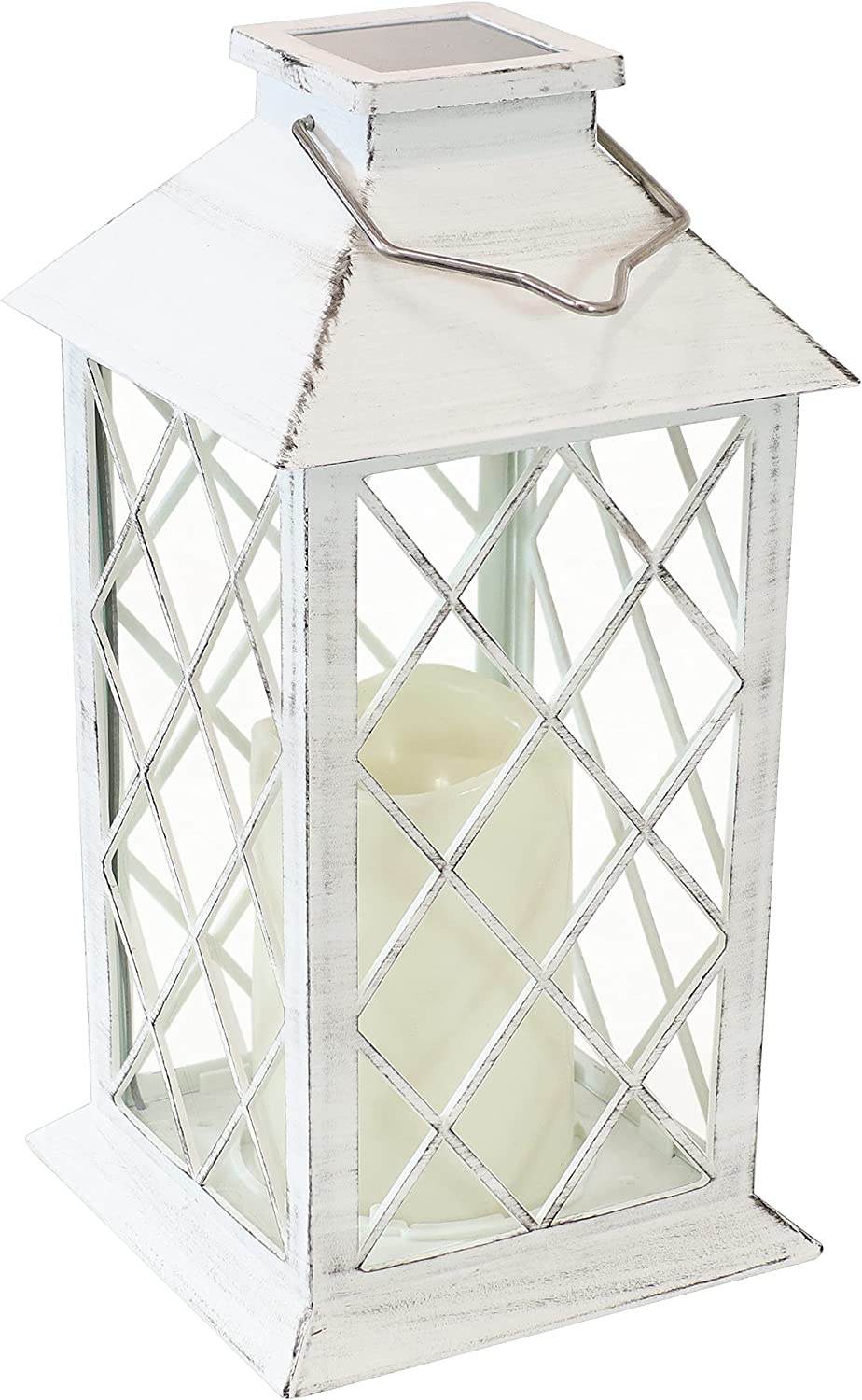 Sunnydaze Concord Outdoor Solar LED Decorative Candle Lantern - Rustic Farmhouse Decor for Patio, Porch, Deck and Garden - Tabletop and Hanging Outside Light - White - 11-Inch