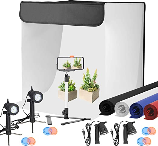 oldzon Table Top Lighting Kit w// 24 Photo Tent Color Backgrounds Soft Box Light Stands with Ebook