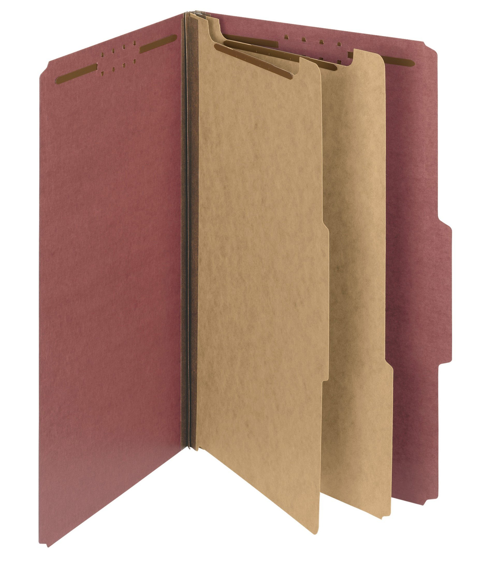Smead 100% Recycled Pressboard Classification File Folder, 2 Dividers, 2'' Expansion, Legal Size, Red, 10 per Box (19023) by Smead