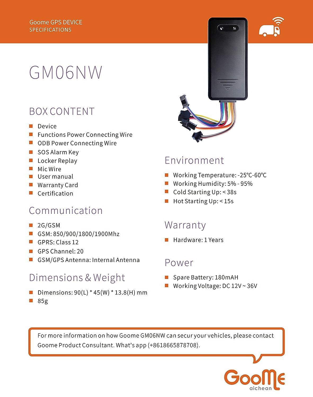 Amazon.com: goome gm06nw Vehículo GPS Tracker seguimiento de ...