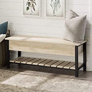 WE Furniture AZ48PCSBWO Open-Top Storage Bench, White Oak