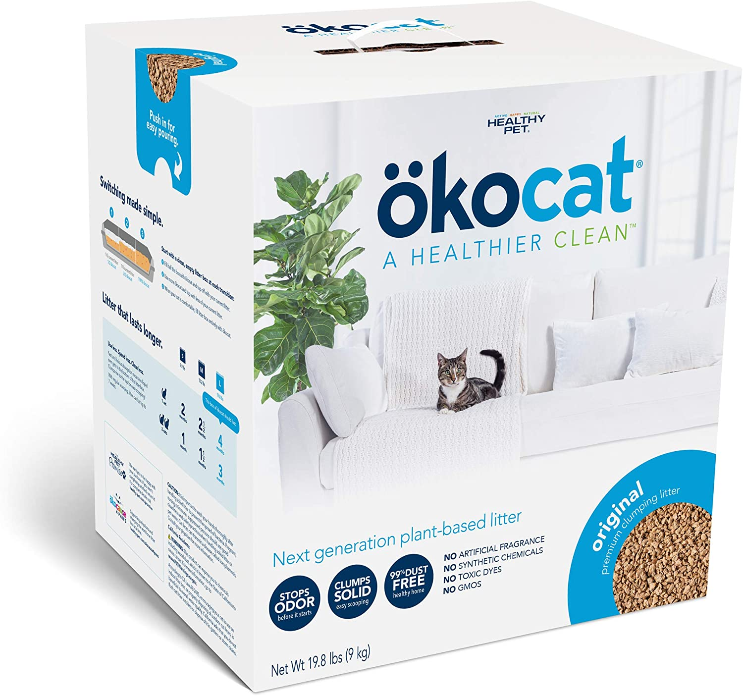 ökocat Natural Wood Clumping Cat Litter (Package may vary)