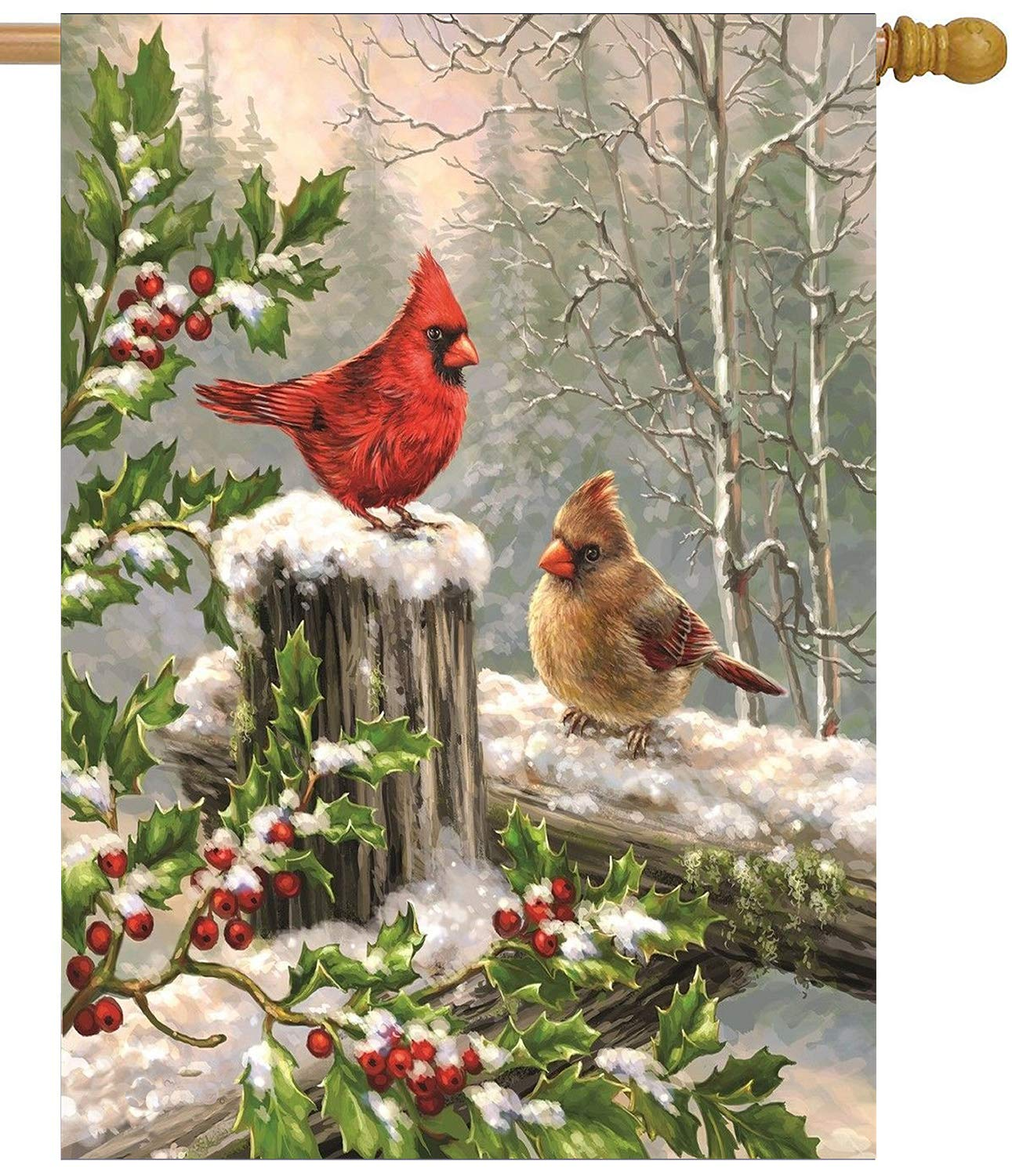 Wamika Merry Christmas House Flags 28 x 40 Double Sided, Cardinal Red Bird Holly Berry Branches Snow Welcome Winter Holiday Yard Outdoor Garden Flag Banner for Party Home Christmas Decorations