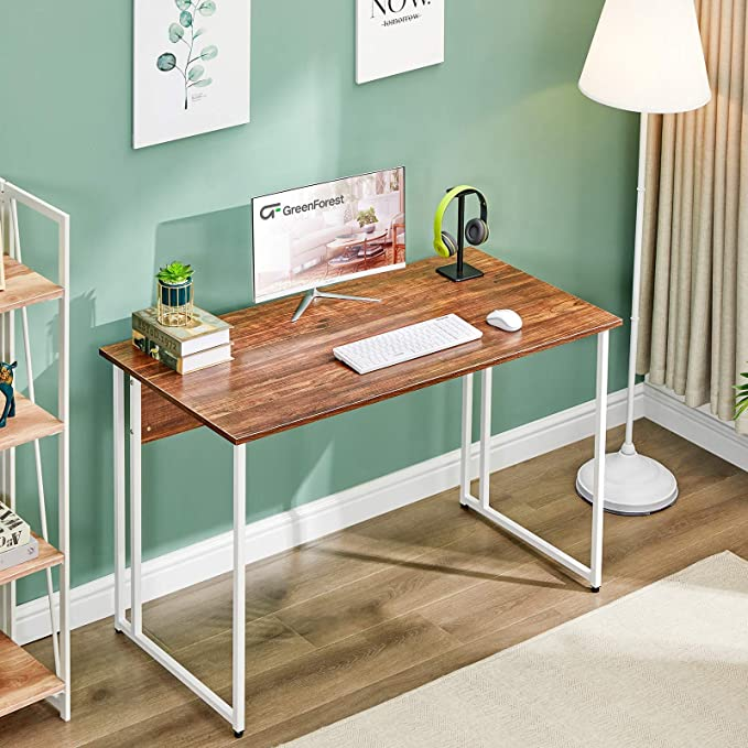 """GreenForest 47"""" Computer Writing Desk, Home Office Desk for Small Spaces, Modern Simple Study and Working Table with White Metal Legs, Walnut   Amazon"""