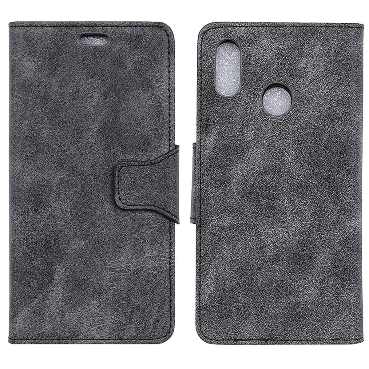 Redmi Note 6 Pro Case, CHIHENG Premium Retro Pattern PU Leather Magnetic Flip Cards Slot Wallet TPU Inner Stand Protective Cover Case for Xiaomi Redmi Note 6 Pro 6.26' Grey