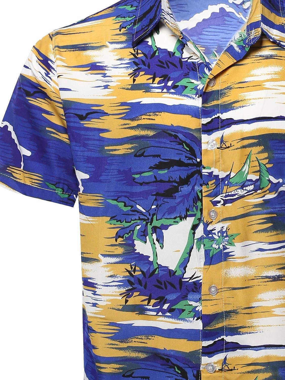 Youstar Mens Casual Hawaiian Print Button Down Short Sleeve Shirt