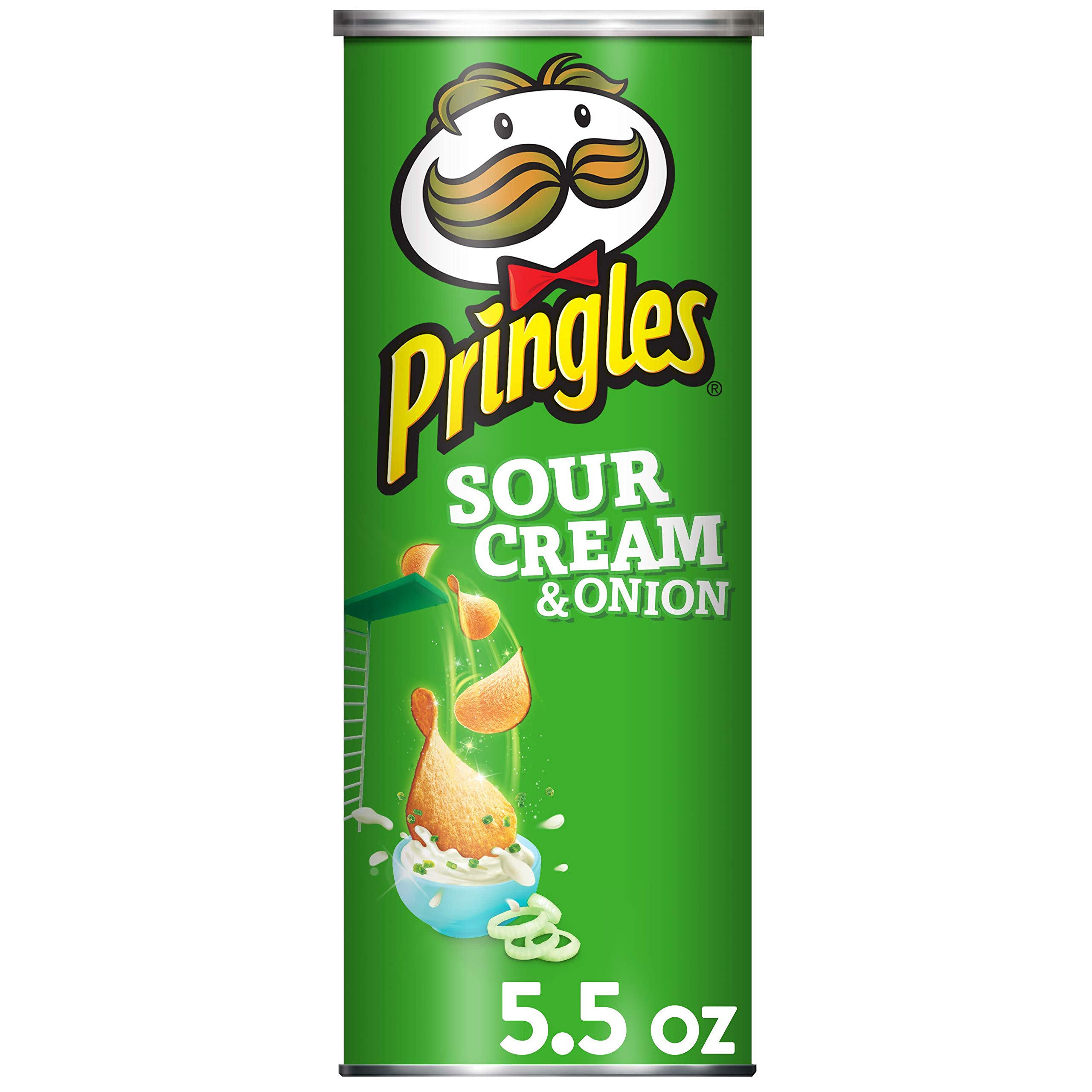 Pringles Potato Crisps Chips, Sour Cream and Onion Flavored, 5.5 oz Can