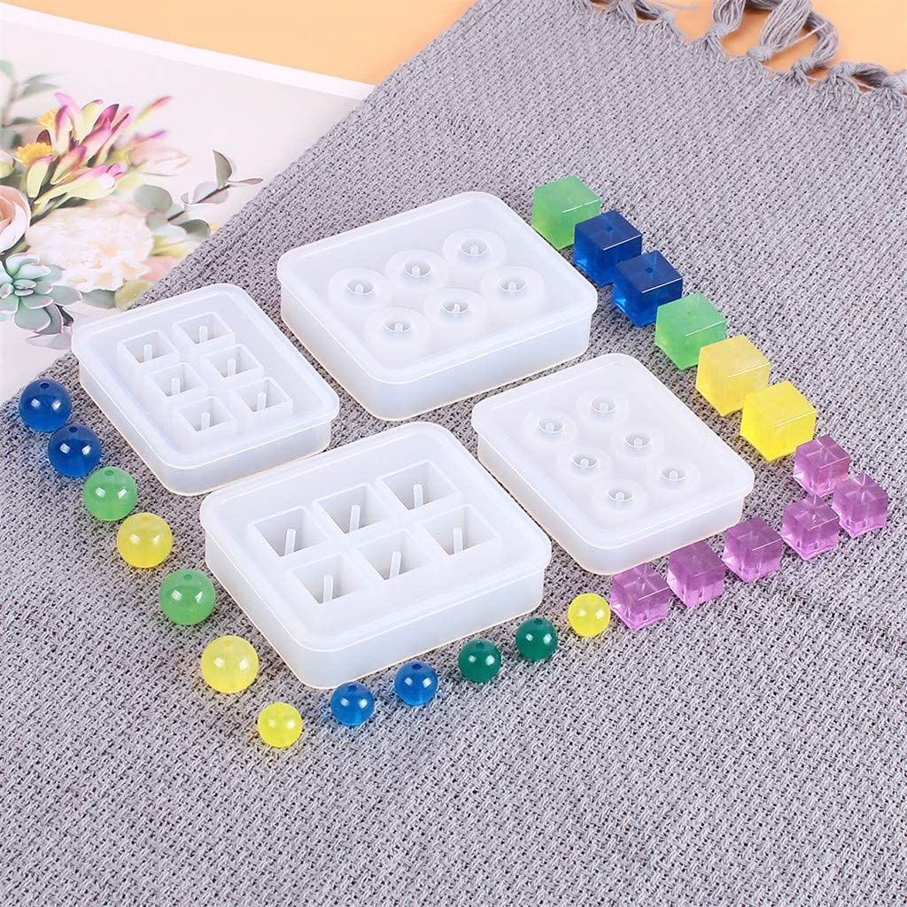 BINGMAX 4 Pack Round Square Resin Casting Silicone Molds Jewelry Making DIY Craft Tools DIY Set