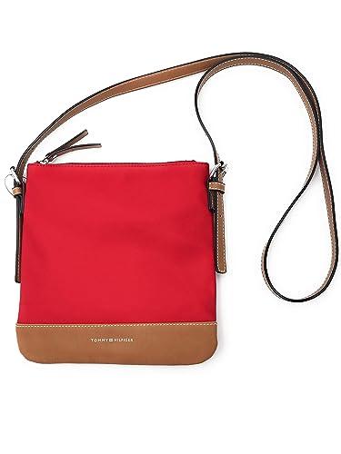 13545b3a7ec2 New Tommy Hilfiger Logo Crossbody Purse Shoulder Hand Bag Red Tan Silver  Nylon  Handbags  Amazon.com
