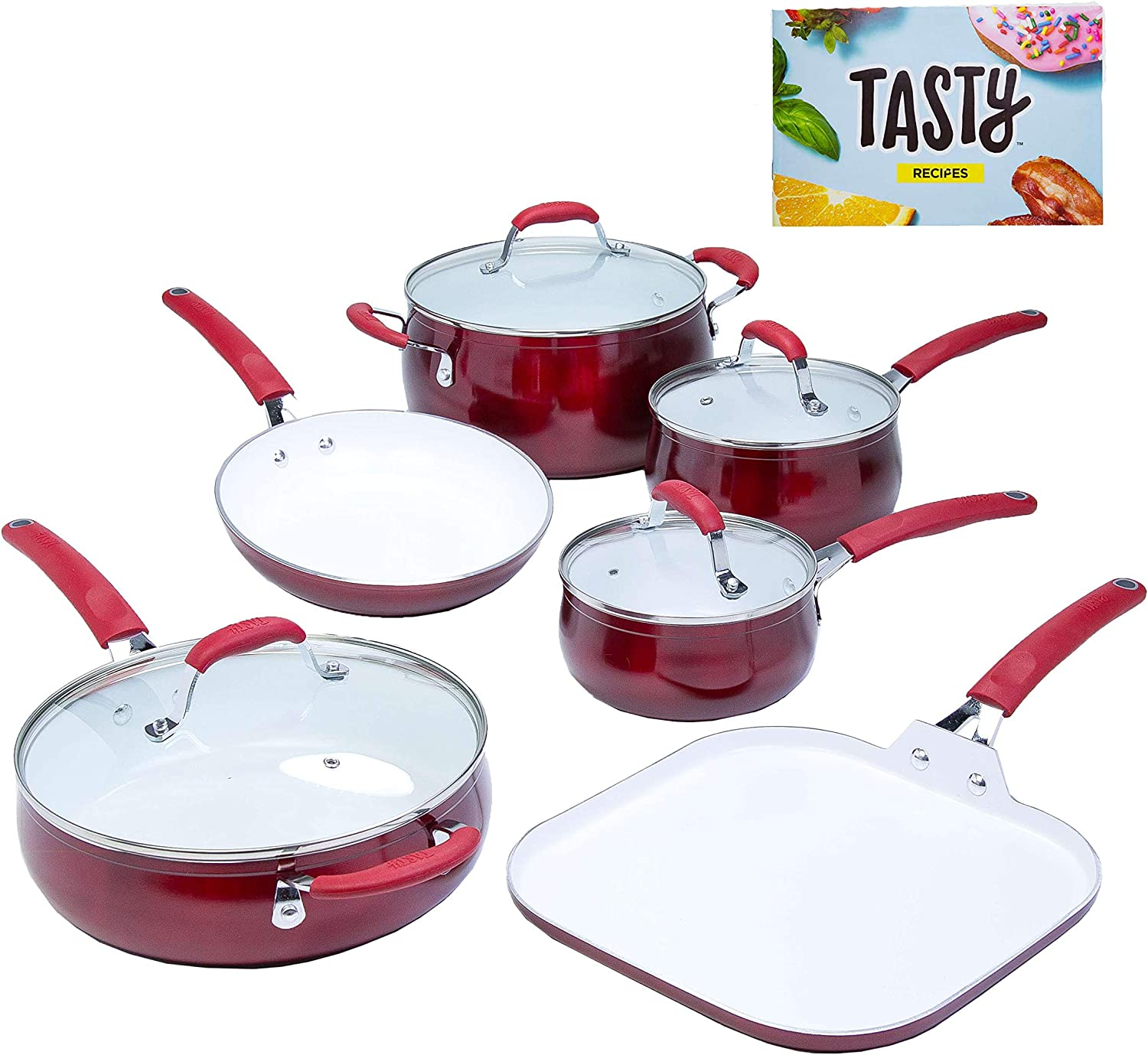 Tasty 11pc Cookware Set Non-Stick – Titanium Reinforced Ceramic , Red