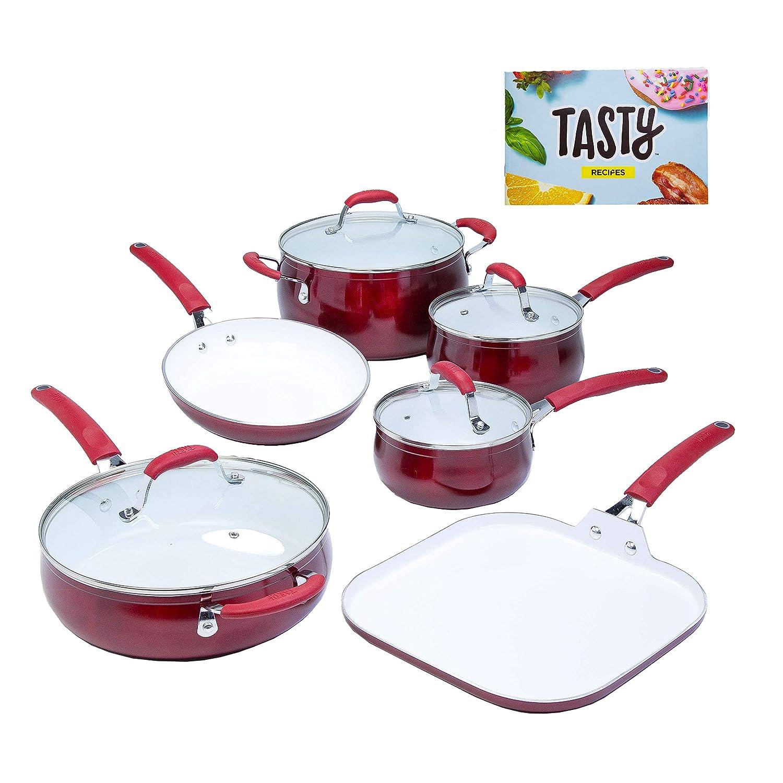 Tasty - Batería de cocina antiadherente (11 piezas, cerámica reforzada de titanio), color rojo: Amazon.es: Hogar