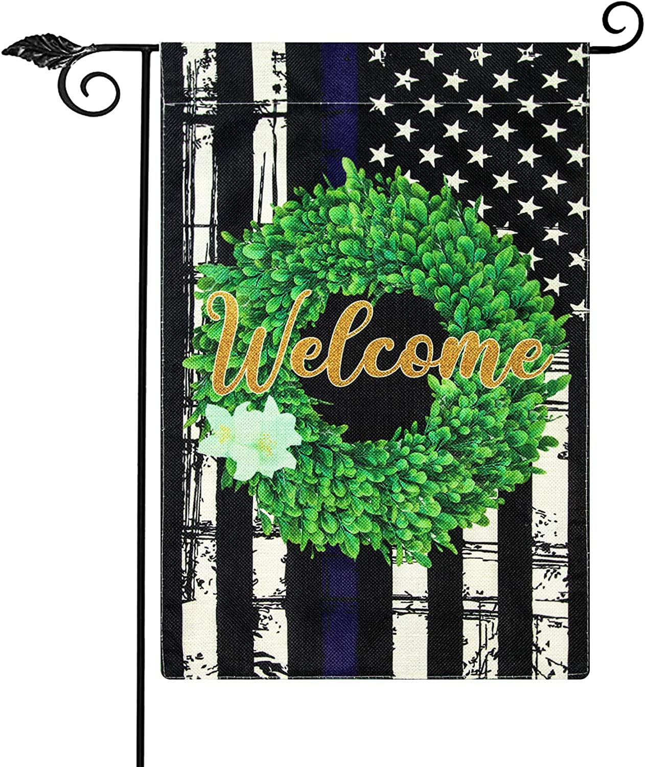 Unves Police Garden Flag, Double Sided Thin Blue Line Garden Flag, Boxwood Wreath Welcome Small American Flag Law Enforcement Officers Flag Yard Outdoor Decoration 12.5 x 18 Inch