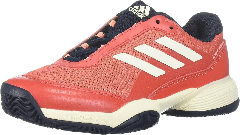 adidas Boys' Barricade Club Xj Skate Shoe, Mystery Blue/White/Glow Orange, 5 M US Big Kid
