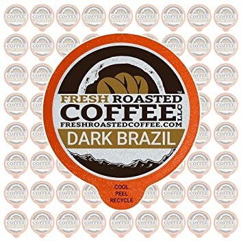 Fresh Roasted Coffee LLC, Dark Brazilian Cerrado Coffee Pods, Medium Dark Roast, Single