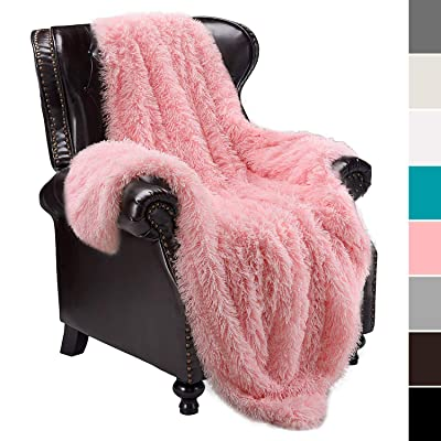junovo Super Soft Shaggy Longfur with Sherpa Reversible Warm Throw Blankets, Pink Girls Fuzzy Throw Blanket, Cozy Plush, Hypoallergenic and Washable Couch Bed Furry Throws Photo Props, 50x60: Home & Kitchen