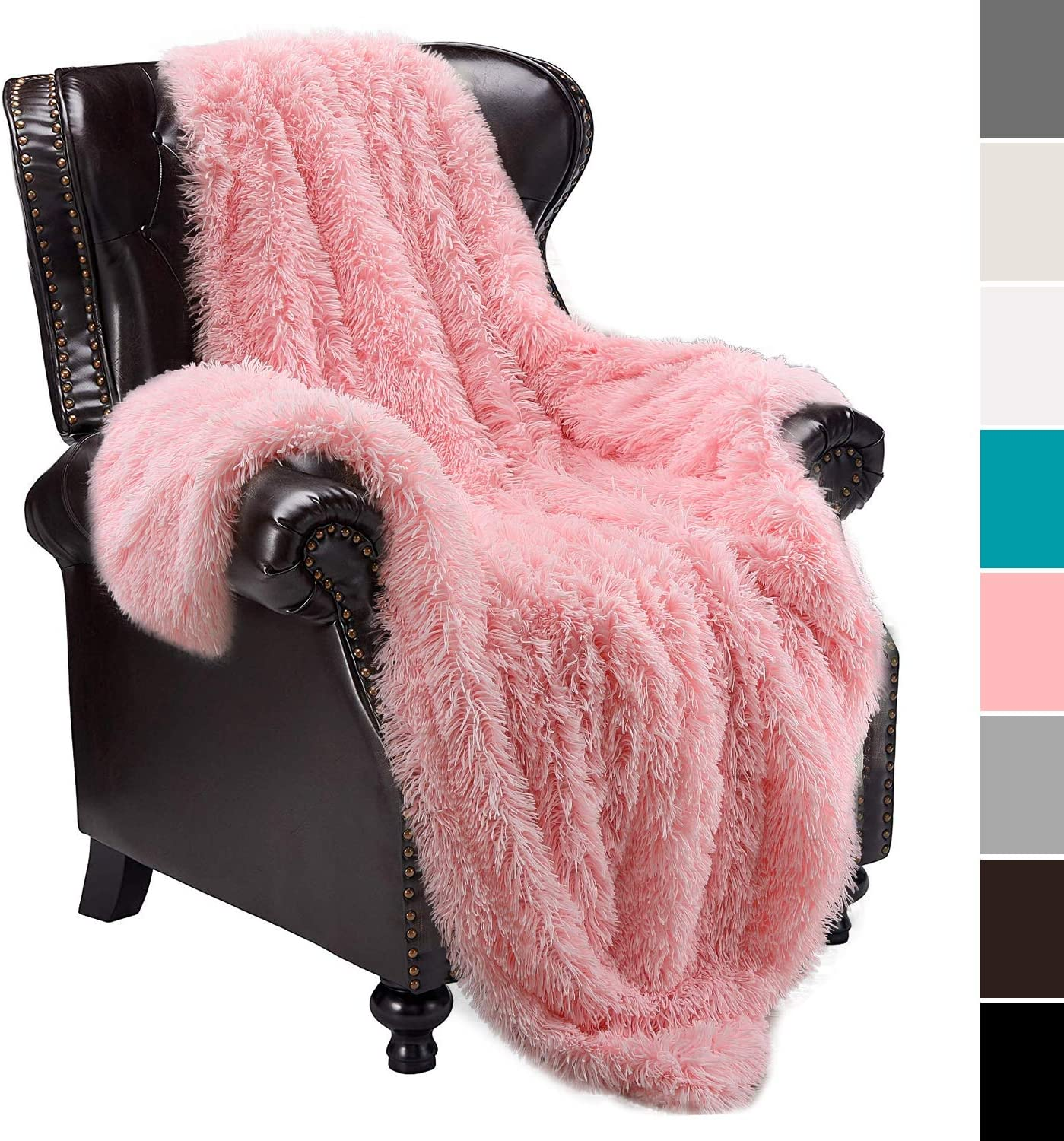 "junovo Super Soft Shaggy Longfur Faux Fur Blanket, Fuzzy Throw Blanket for Bed, Fluffy Cozy Plush Light Blanket, Washable Warm Furry Throw Blanket for Couch Sofa Chair Home Decor, 50""x60"" Pink"