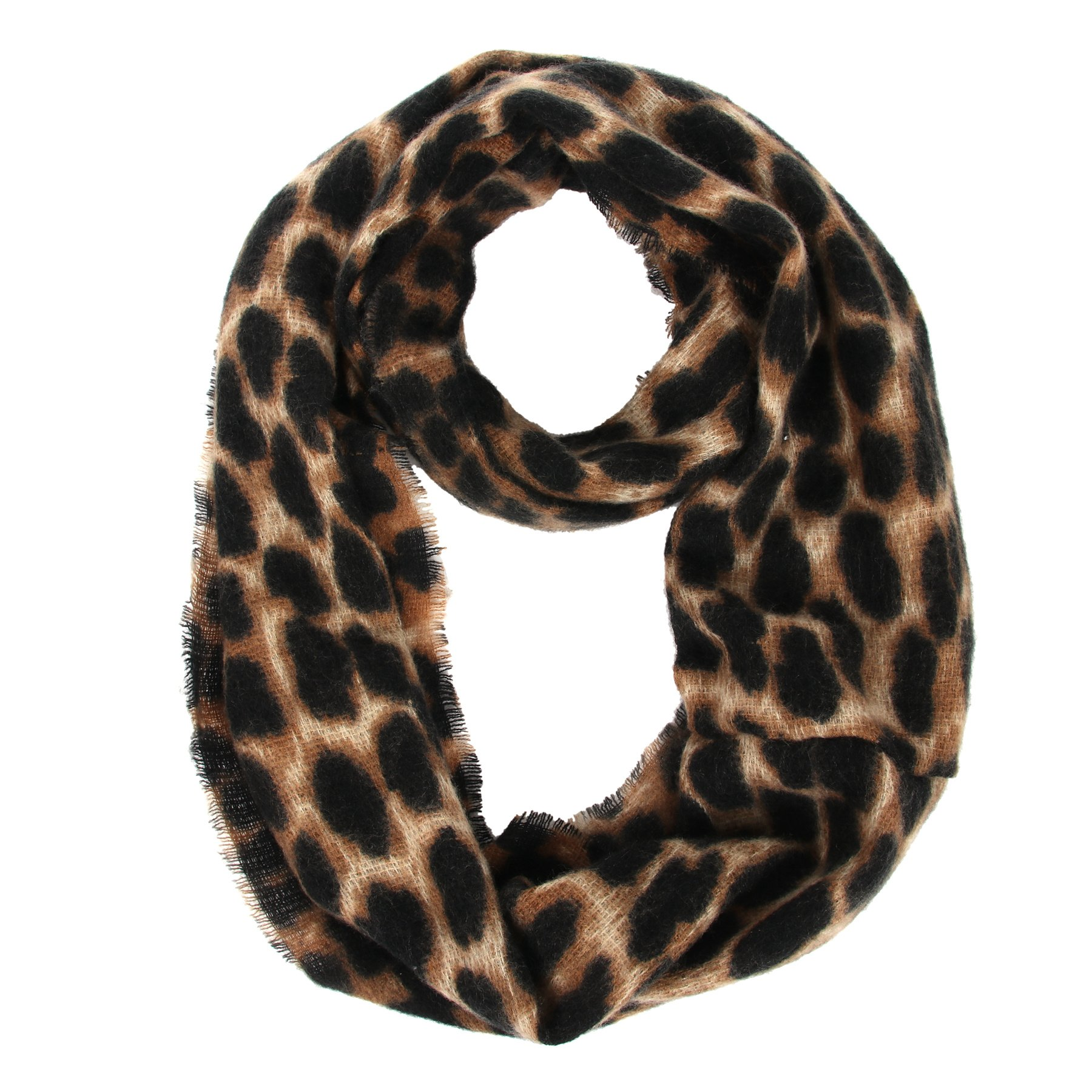 Women's Leopard Print Infinity Scarf - Warm Lightweight Acrylic Cheetah Loop Circle Scarves for Ladies and Girls