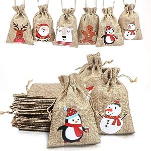 LOKIPA Christmas Jute Burlap Bags, Xmas Jute Linen Burlap Drawstring Gift Treat Candy Bag for Xmas Favors (24)