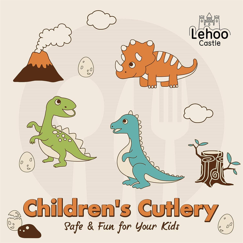 Lehoo Castle Set di Posate per Bambini,Set di Posate per Bambini,Set forchetta e Cucchiaio,Toddler Utensili 6 Pezzi,Set di Posate di Posate Baby,Set di Posate per Bambini,Posate di Dinosauro