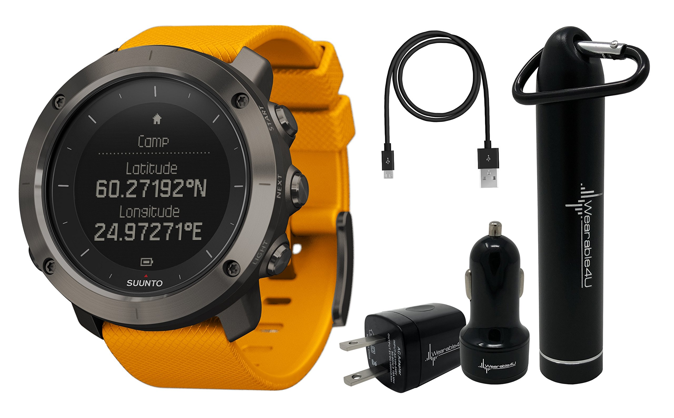 Suunto Traverse GPS Outdoor Hiking Watch with Versatile Navigation Functions and Wearable4U Ultimate Power Pack Bundle (Amber)