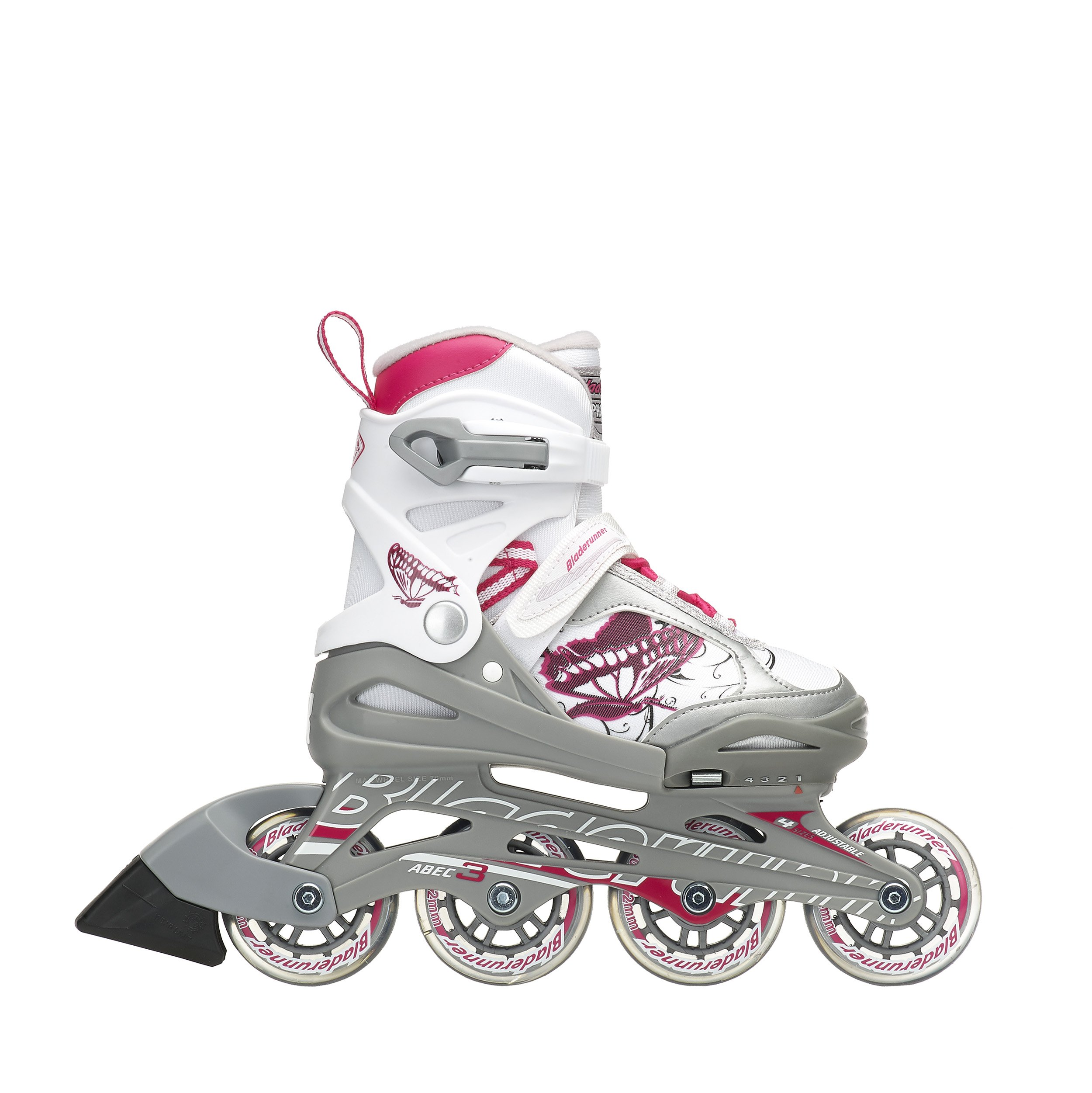 Rollerblade Bladerunner Phoenix Girls Adjustable Fitness Inline Skate, White and Pink, Junior, Value Performance Inline Skates, Youth Junior 1 to 4 by Rollerblade (Image #5)