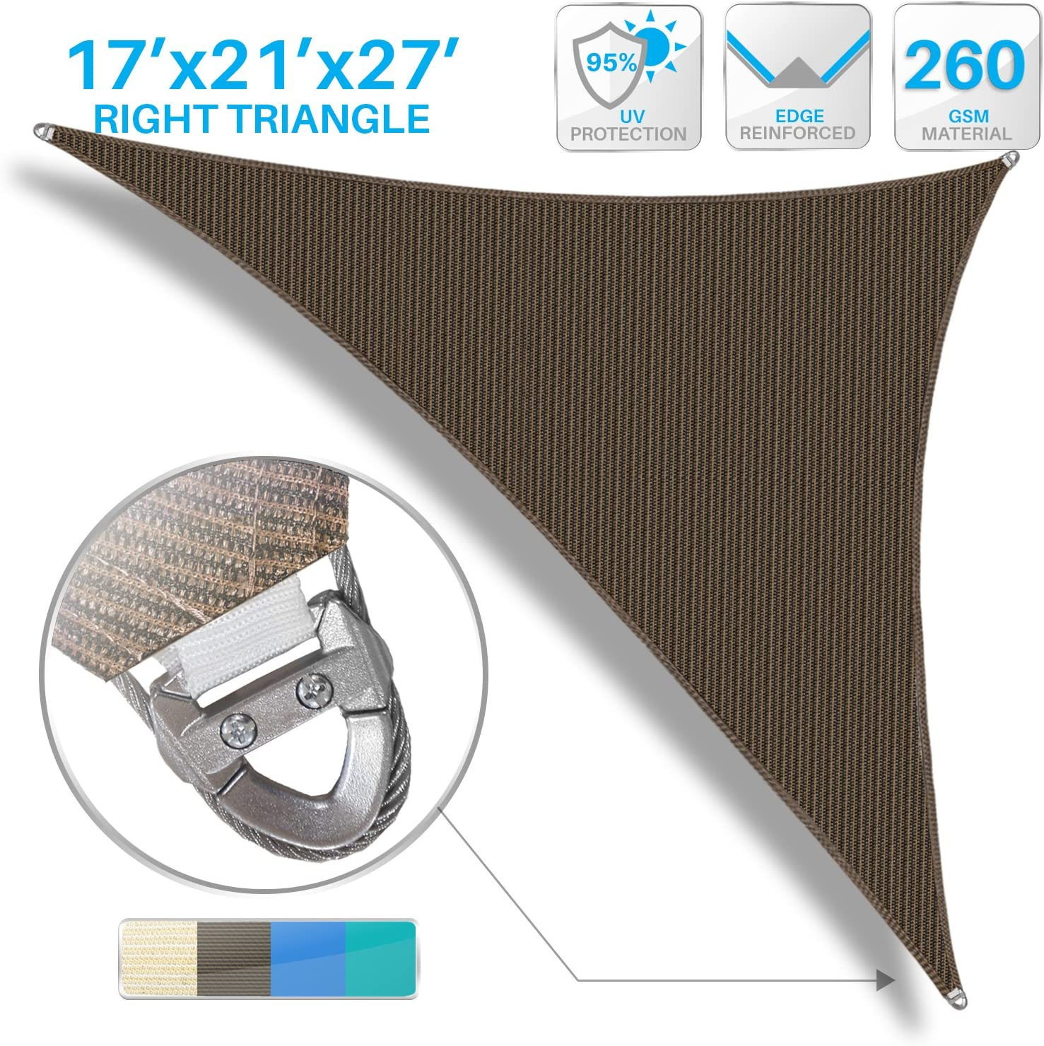 Patio Large Sun Shade Sail 17' x 21' x 27' Right Triangle Heavy Duty Strengthen Durable Outdoor Canopy UV Block Fabric A-Ring Design Metal Spring Reinforcement 7 Year Warranty -Brown 81vUtrz91PL
