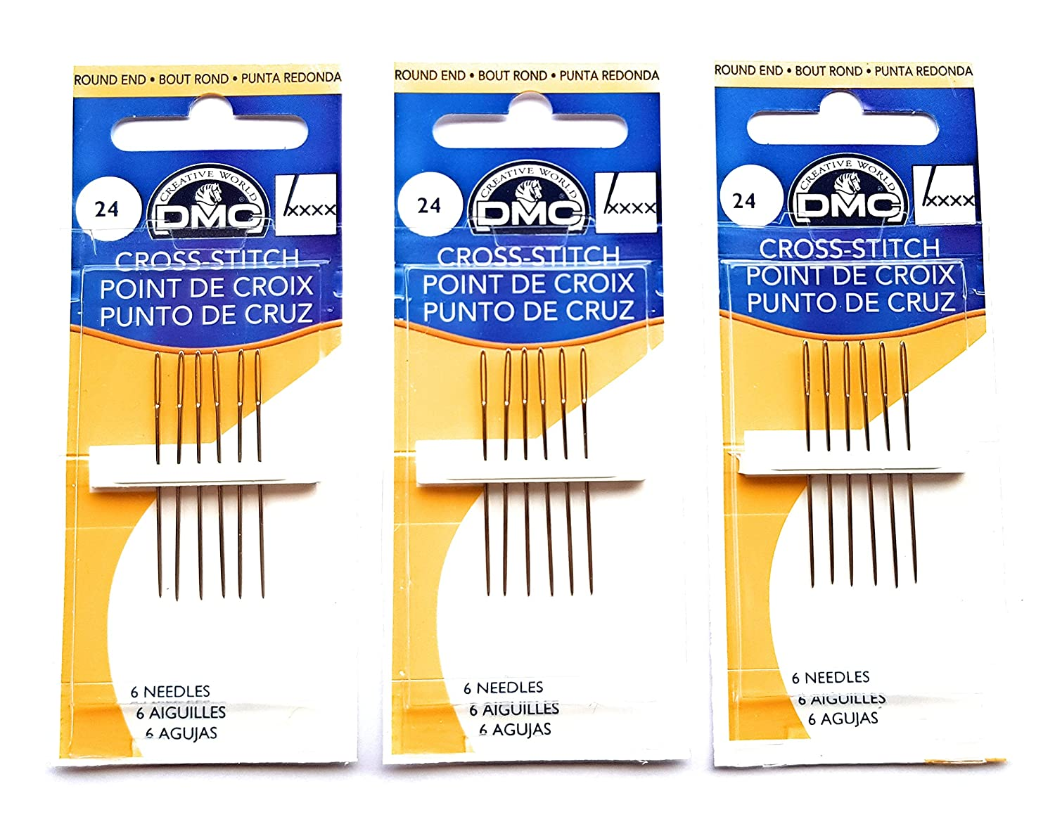 3 Pack DMC Size 24 Cross Stitch Needles (Total 18 Needles)