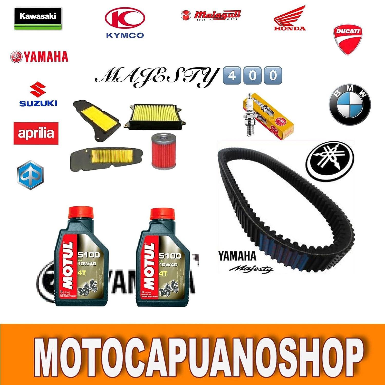 KIT TAGLIANDO FILTRI OLIO MOTUL5100 CANDELA CINGHIA YAMAHA MAJESTY 400 2007-2012 MotoCapuano 401320018096
