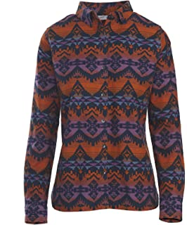 089ff1a3 Woolrich Women's Keystone Printed Chamois Shirt, Deep Indigo Multi (Blue)