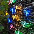 Lights4fun - Luci da giardino a energia solare, 30 luci a LED a forma di libellule colorate