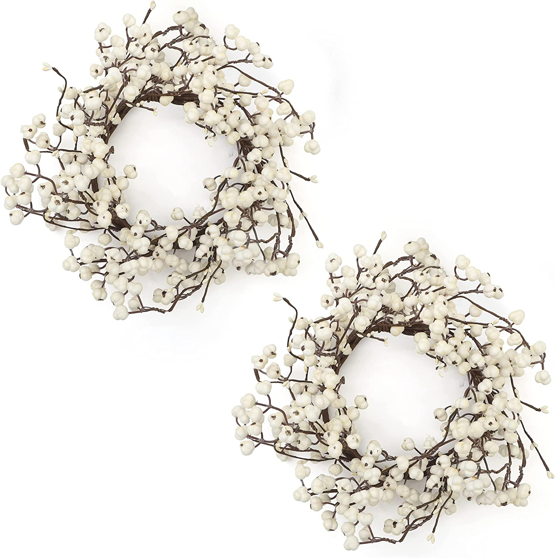 Frdsomar 2 Pack Spring Wreaths, Artificial Wreath for FrontDoor, Wintersweet Flower Wreath for Indoor Outdoor, Spring, Summer, Window, Wall, Home Decor, 15inch