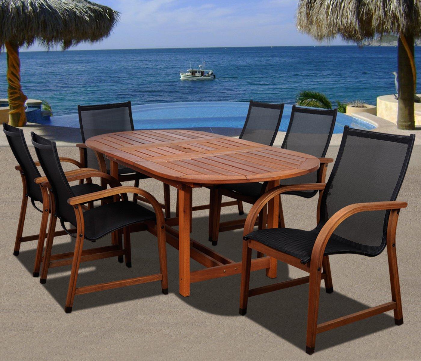 Amazon.com : Amazonia Bahamas 7 Piece Eucalyptus Oval Dining Set : Patio  Dining Chairs : Patio, Lawn U0026 Garden