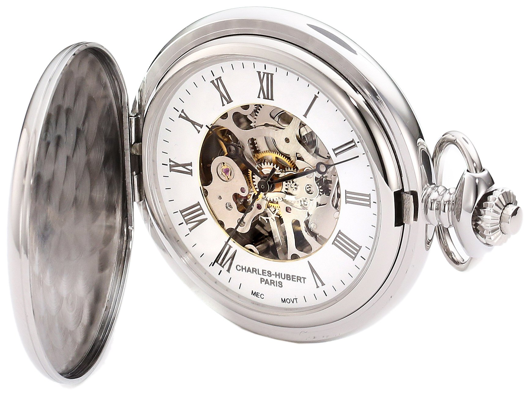 Charles-Hubert, Paris 3917 Premium Collection Stainless Steel Mechanical Pocket Watch