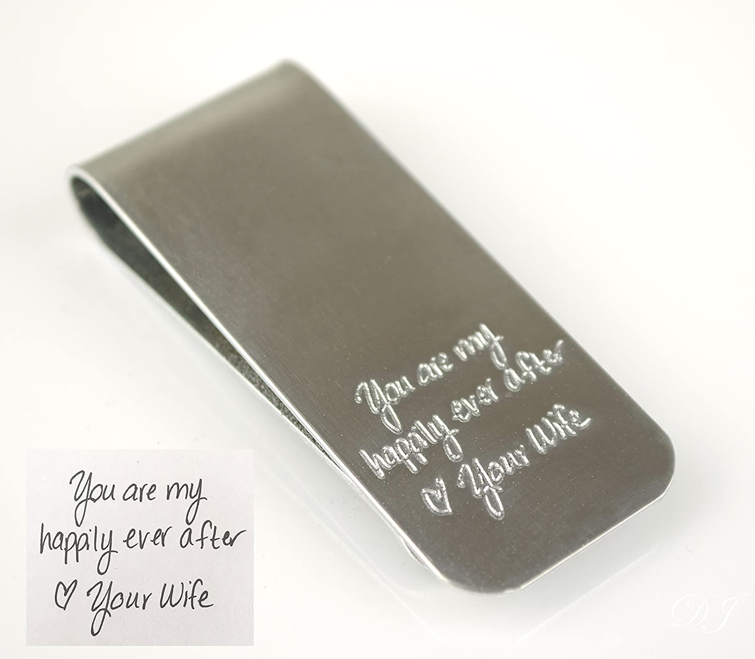 Actual handwriting money clip, Custom money clip, Personalized money clip,Groomsmen gift for men, engraved money clip