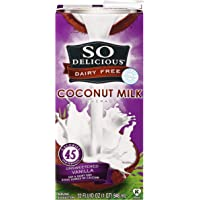 So Delicious Dairy Free Shelf-Stable Coconutmilk, Unsweetened, Vanilla, Vegan, Non-GMO Project Verified, 1 Quart (Pack of 12)