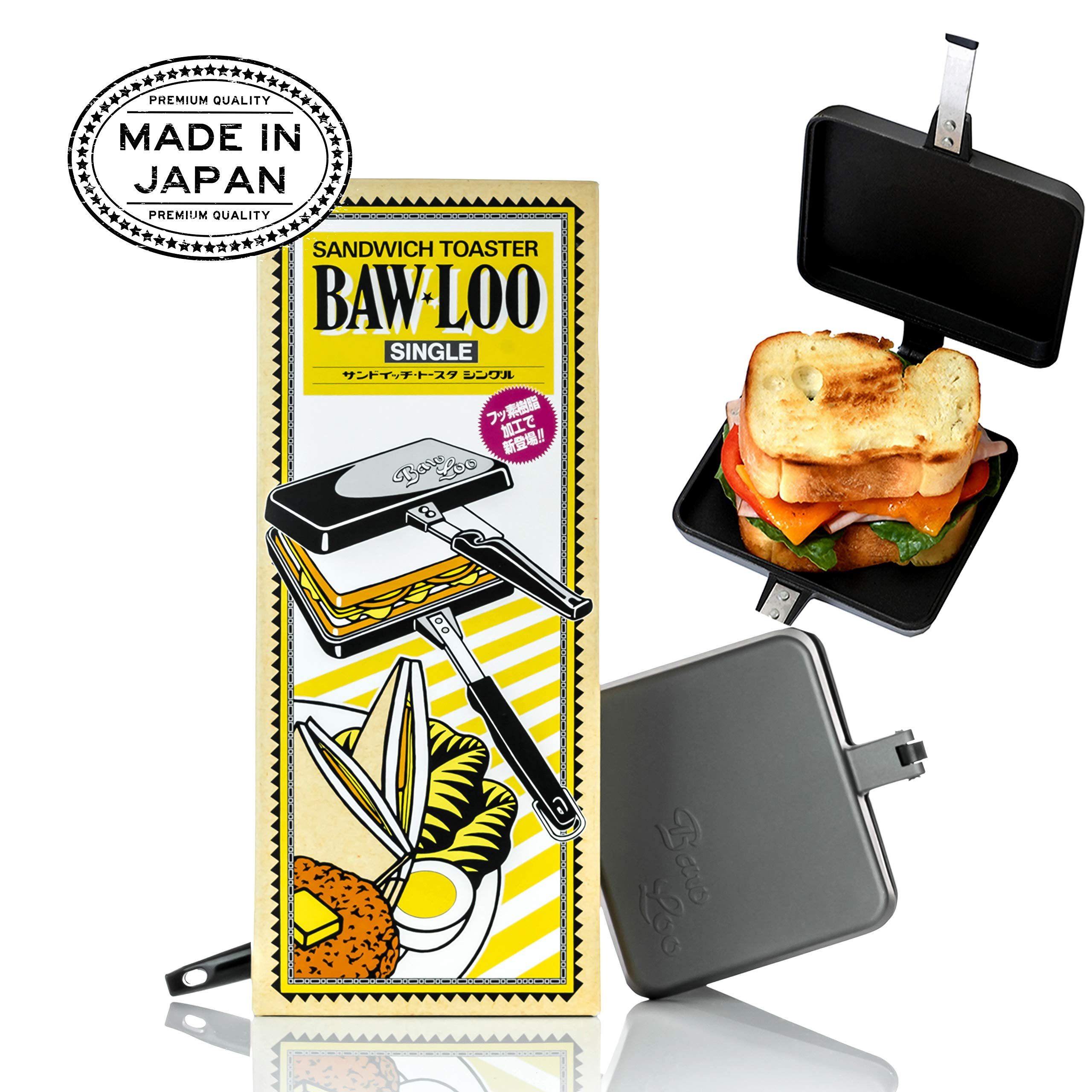 Stove Top Grilled Cheese and Panini Maker - Made in Japan - Featured as Amazon Choice in Japan Marketplace - Over 1000s 5 Star Reviews - Natural Color Tote Included