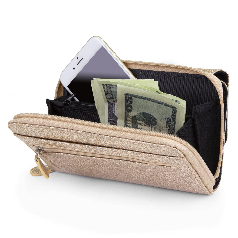 Mundi Big Fat Wallet Womens RFID Blocking Wallet Card Carrier Clutch Organizer (Gold (Glitter)) by Mundi (Image #4)